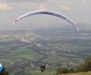 start padáku na Javorovém - pohled na Třinec